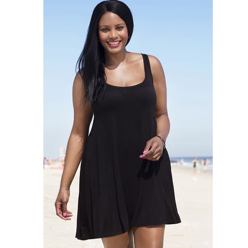Neue Mode Frauen Plus Size Tank Dress O-Neck ärmelloses Solid Color Beach Kleid Swimwear