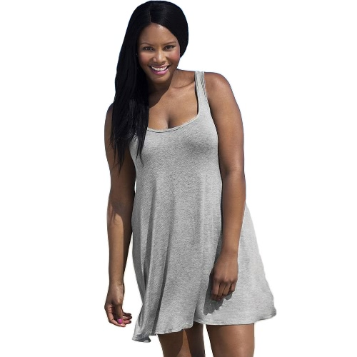Nueva moda mujer Plus tamaño tanque vestido sin mangas de cuello O sólido Color playa vestido de traje de baño