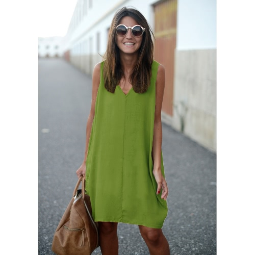 Nuevas mujeres de moda Tank Mini vestido V cuello Alto Low Hem suelta Casual Asymmetric Shift Dress