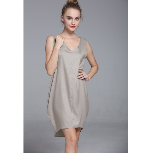 Nueva moda mujer tanque Mini vestido V cuello alta baja dobladillo suelto Casual cambio asimétrico vestido negro/gris