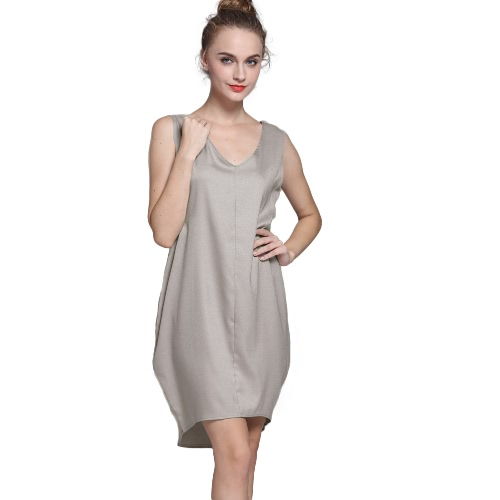 Casual V Neck High Low...