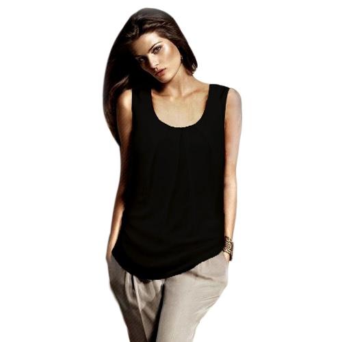 Nowe kobiety mody Tank Top Layered Design O-Neck Bez rękawów Casual Vest Black