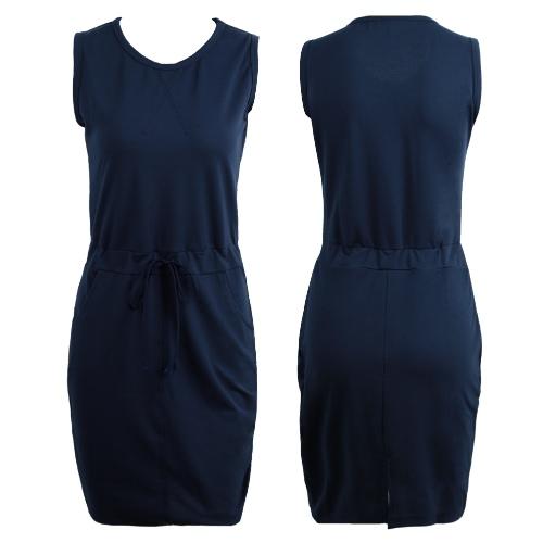 Frauen Solide Bleistift Kleid Lässige O-Neck Sleeveless Bodycon Etuikleid Grau / Rose / Dunkelblau