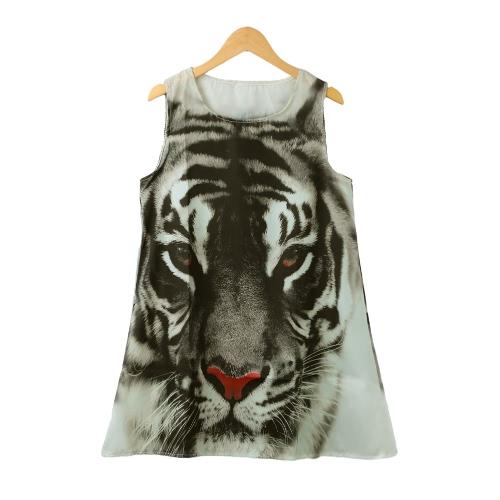 Nueva Europa moda mujer vestido Mini cabeza de tigre de impresión O cuello sin mangas sueltas verano Casual Vestido negro