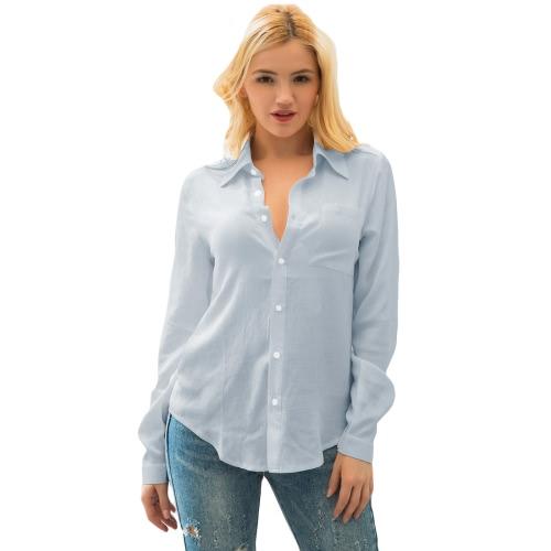 Moda mujer camisa punta collar de manga larga botón bolsillo de color sólido blusa
