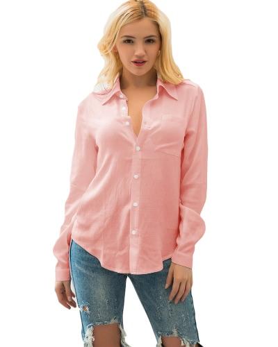 Camicia di colore solido della tasca del tasto del manicotto del collare del punto della camicia delle donne di modo