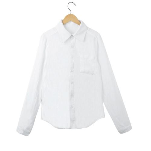 Moda mujer camisa cuello de punto manga larga botón bolsillo Color sólido blusa blanco