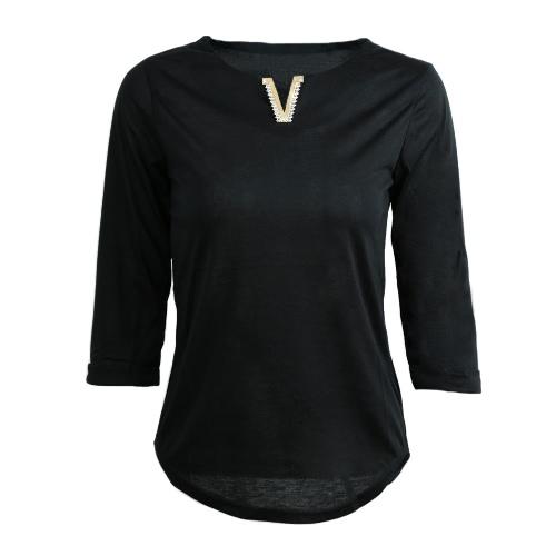 Novas mulheres t-shirt Casual decoração Metal v-Neck meia manga cor sólida Tees Top Fashion