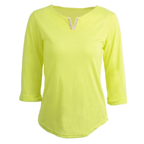 Casual Metal Decoration V-Neck Half Sleeve Women's Solid Color T-Shirt