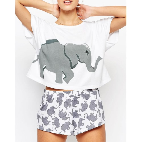 Women Crop T-Shirt Cropped Raglan Top Elephant Print Short Sleeve Casual Tee White