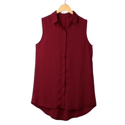 Nova moda mulheres blusa camisa de gola virada para baixo do Chiffon bainha assimétrica sem mangas Tops Borgonha/preto