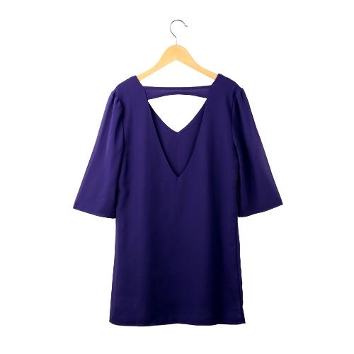 Nueva moda mujer vestido de Gasa con cuello en v salida hueco tres cuartos mangas vestido recto azul/púrpura