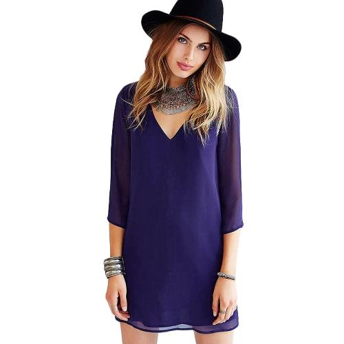 Nowa moda damska sukienka szyfonowa z dekoltu w kształcie litery V wysuwa się z trzech ćwiartkowych rękawa prosta sukienka niebieska / fioletowa