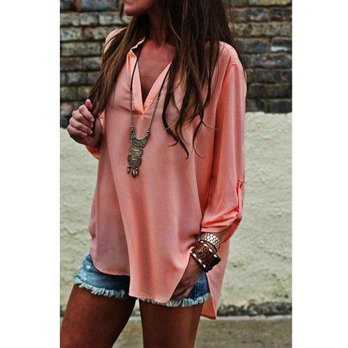 TOMTOP / Las mujeres blusa de gasa blusa de verano Irregular dobladillo manga ajustable Color sólido camisa Casual rosa
