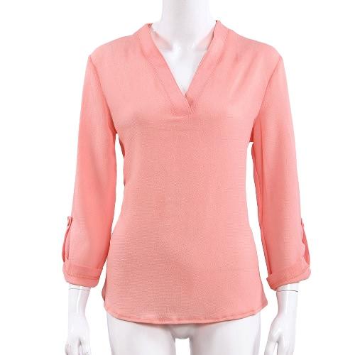 Las mujeres blusa de gasa blusa de verano Irregular dobladillo manga ajustable Color sólido camisa Casual rosa