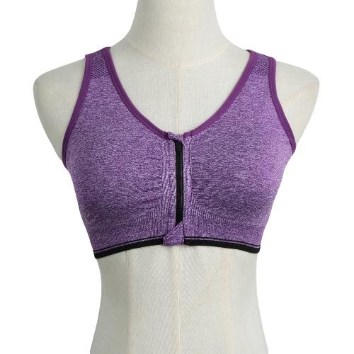Nueva moda mujeres deportes Bra Push Up inalámbrico cremallera acolchado Fitness Yoga transpirable elásticos Gimnasio ropa interior chaleco