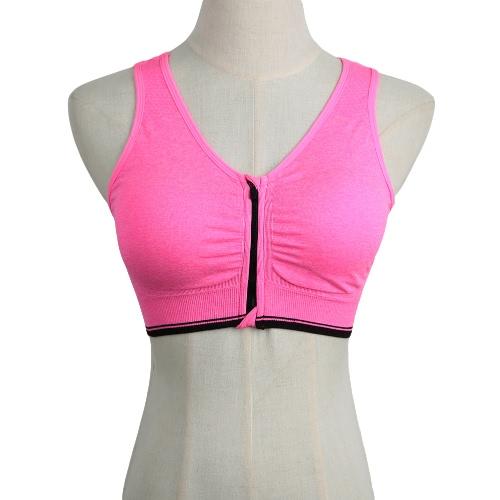 Neue Mode Frauen Sport-BH Push-Up Reißverschluss Wireless Polsterung Fitness Strecken atmungsaktiver Yoga Gym Unterwäsche Weste