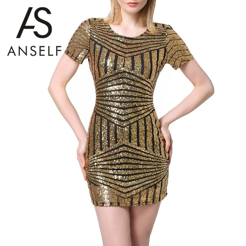 New Sexy Women Sequin Bodycon Dress Short Sleeve Backless Party Evening Mini Club Dress Gold/Silver