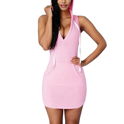 Women Summer Mini Hooded Dress V-Neck Sleeveless Solid Color Casual Sports Dress Pink