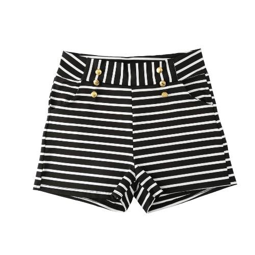 Las mujeres Shorts verano Shorts talle alto elástico señoras pantalones casuales negro a rayas