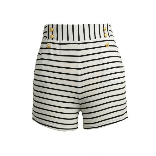 Mujeres Pantalones cortos Pantalones cortos de verano de rayas de alta elástico de la cintura de las señoras de los pantalones ocasionales Negro / blanco