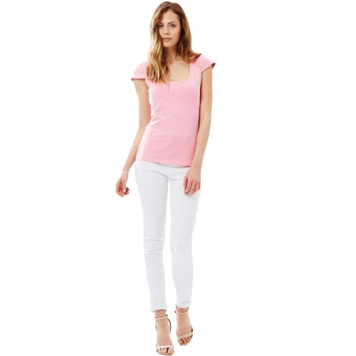 Nova moda mulheres camiseta sensual recorte manga curta volta sólido magro elegante Tops camiseta rosa