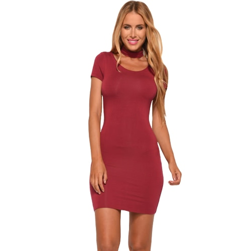 Frauen Bodycon Kleid Mini Bleistift Kleid Clubwear Short Sleeve Volltonfarbe Mantel Party Kleid schwarz/rot