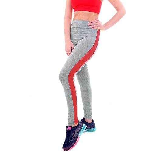 Nueva Moda Mujeres Leggings Deporte Raya de Cintura Alta Yoga Gimnasio de Fitness Running Stretch Tights Pantalones Largos Pantalones