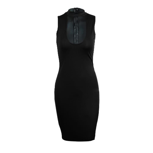 New Fashion Kobiet Bodycon Dress Scoop Neck Bez rękawów Evening Club Wear Midi Sukienka