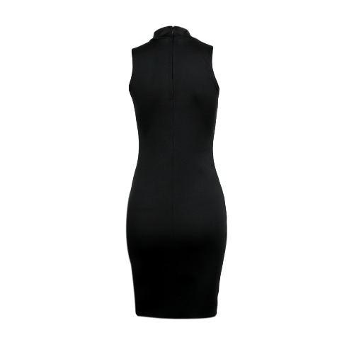 Neue Mode Frauen Bodycon Kleid Scoop Neck ärmelloses Abendkleid Club Wear Midi