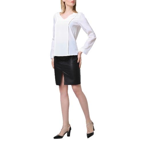 Nova Moda Blusa Mulheres V-Neck mangas compridas Ruched Voltar Asymmetric Hem Feminino Tops Branco