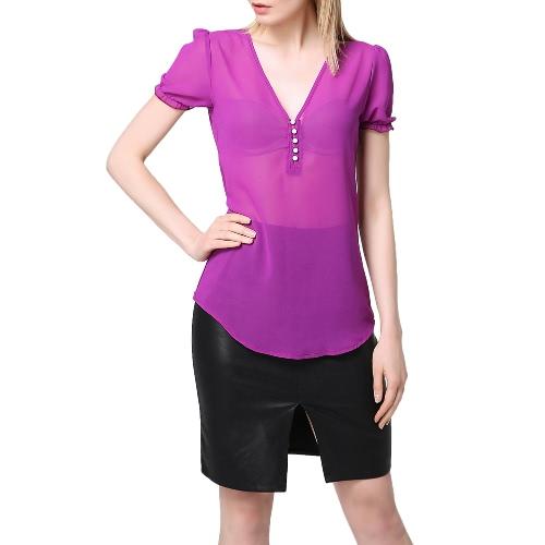 Sexy Sheer шифон блузка Глубокий V-образным вырезом спереди Кнопка Короткие рукава Фонарь Кривая Хем Top Фиолетовый фото