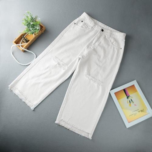Женщины Проблемные рваные джинсы Boyfriend джинсы Брюки Обрезанные Средние Взлет Джинсовые штаны белые фото