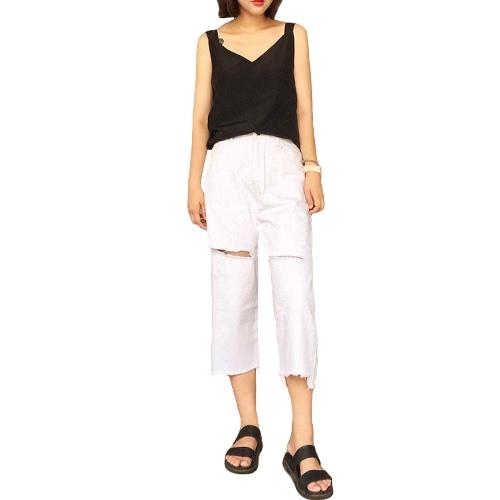Mulheres afligidas Ripped Jeans Boyfriend Jeans calças cortadas aumento médio Denim calças brancas