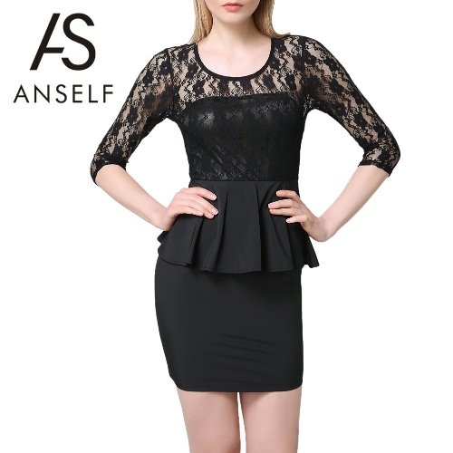 New Sexy Women Mini Dress Lace Splice Hollow Out Elegant Pleated Bodycon Cocktail Party Evening Dress Black