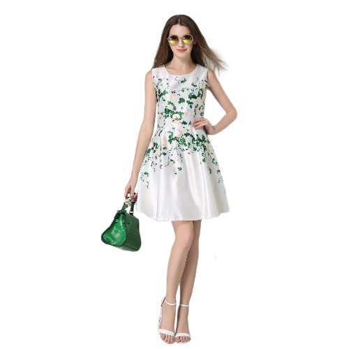 0cecd4867383b Fashion Women Elegant Floral Print Dress Round Neck Sleeveless Back Zipper  Party Mini Swing Robe White - tomtop.com - imall.com