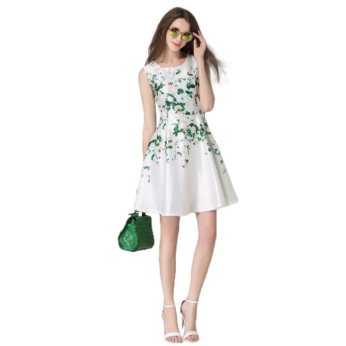 Moda Damska Elegancka Sukienka Wydrukowa Sukienka Okrągły Sweter Bez Rękawów Z powrotem Suwak Mini Party Swing Robe White