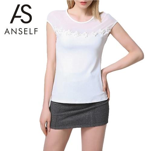 Nueva Moda Mujeres Camiseta O-cuello manga corta Malla Patch Flores Design Tee Tops Blanco