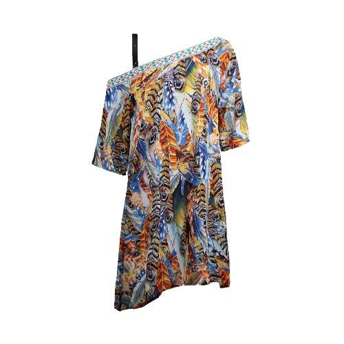 New Summer Women Chiffon Mini Dress Leaf Print Off The Shoulder Half Sleeve Bohemia Loose Beach Holiday Shift Dress Red/Blue