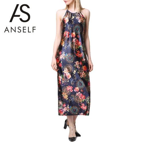 Las mujeres Sexy verano largo Vestido Halter impresión Floral O cuello sin mangas espaguetis Vintage elegante correa Slip vestido negro