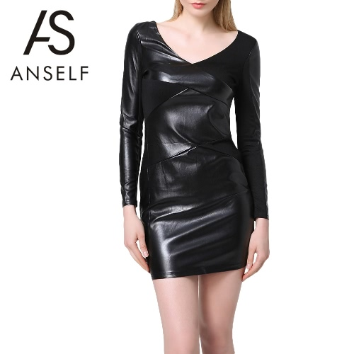 Nova moda mulheres Mini vestido PU Splice elegante Cocktail Bodycon festa vestido de noite preto