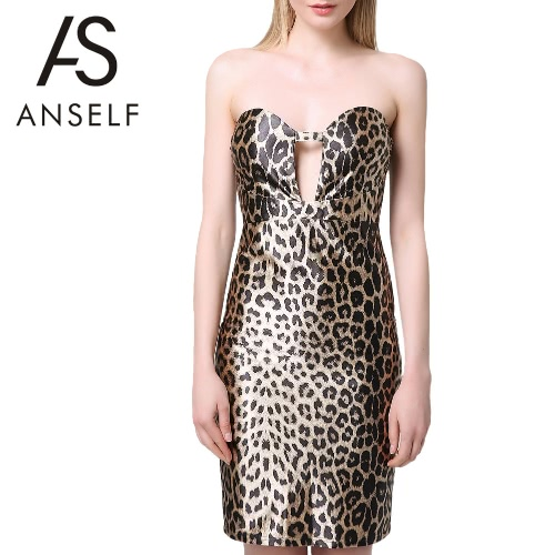 Women Leopard Bodycon Dress Strapless Sexy Clubwear Sweetheart Neck Cocktail Party Dress Brown