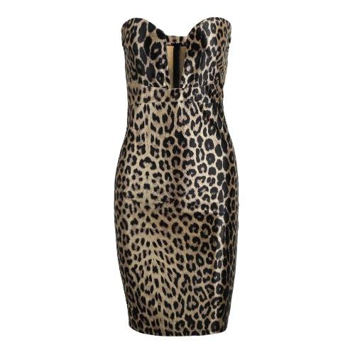 Donne leopardo vestito aderente senza spalline Clubwear Sexy collo Cocktail Party Dress Brown