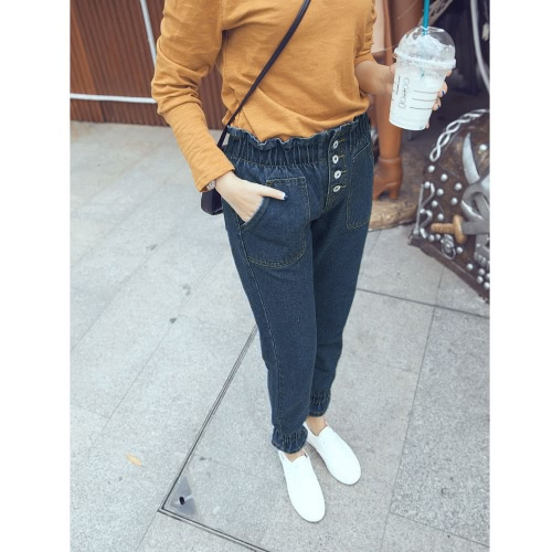 New Fashion Women Jeans Hight Waist Elastic Waistband Cuffs Buttons Ankle Length Slim Casual Pants Dark Blue
