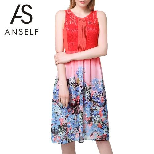 Neue Mode Frauen Midi Kleid Chiffon Spitze Panel Floral Print Rock Farbblock Plissee ärmelloses elegantes einteiliges Orange