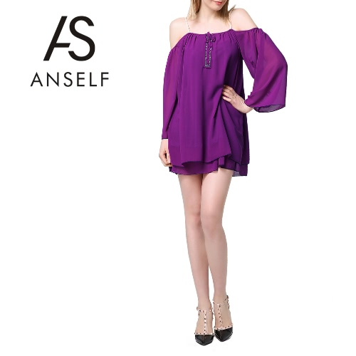 Mulheres Chiffon Dress Off Shoulder Hollow Out Strap Front Drape Sleeves Backless Mini Sundress Swing Dress Purple