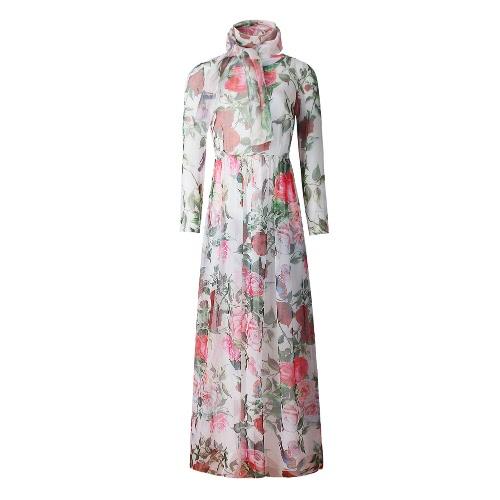 Nuova estate donna Maxi abito lungo in Chiffon rosa uccello stampa O-collo manica lunga Boemia sottile elegante Beach Holiday Dress Pink/White