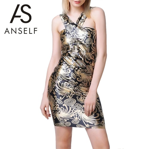 Sexy Kleid Kontrast Floral Print ärmellose Open Damen wieder überqueren Riemen Abend Club Wear Partykleid schwarz