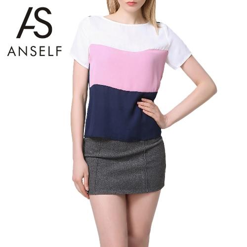 Nueva moda mujeres gasa camiseta empalme redondo cuello manga corta blusas elegante Casual camiseta azul oscuro