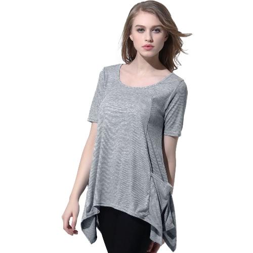 Nueva moda mujer tejer Overtop mangas cortas cuello O bolsillos dobladillo asimétrico Casual suéter gris superior